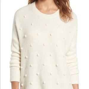 Madewell Pom Pom Cream Sweater Sz Small